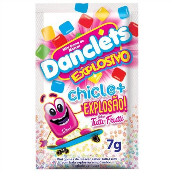 Chicletes Danclets Explosivo Tutti Frutti 1 CX com 15 unidades Danilla