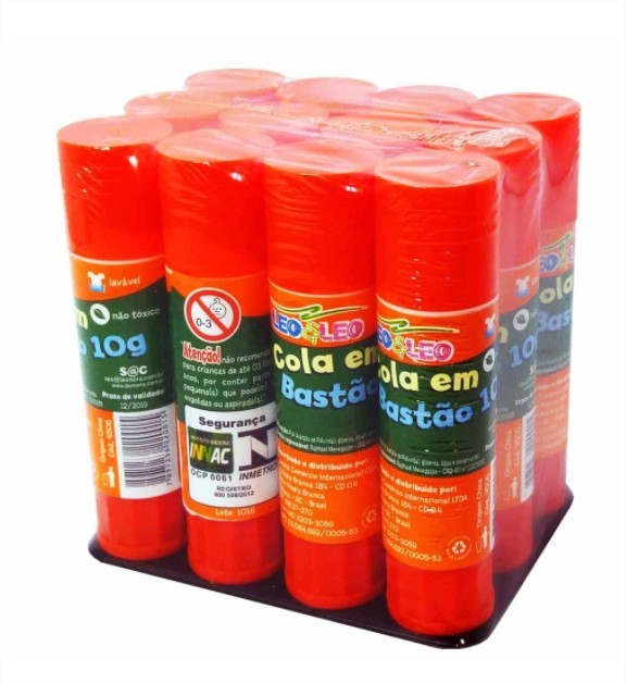 Cola Bastão 72 colas com 10g cada Leo e Leo Atacado