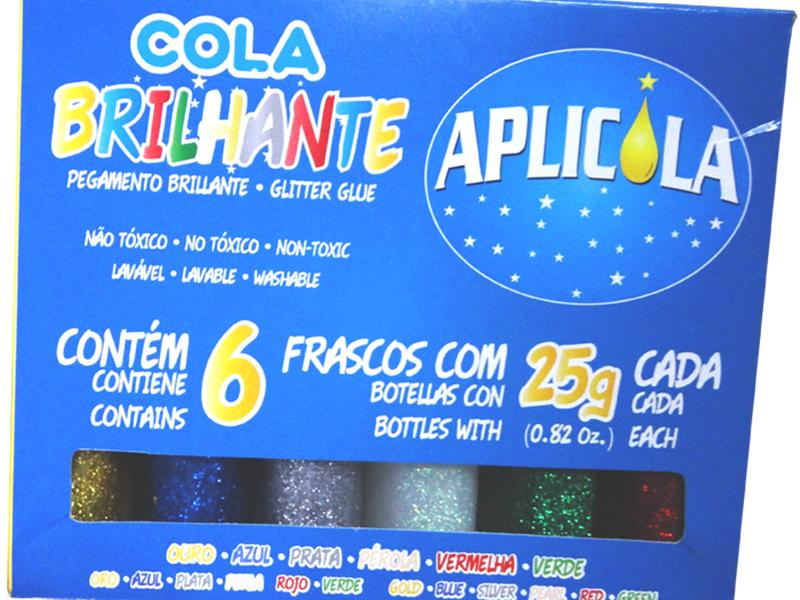 Cola Brilhante com Gliter 25g Com 6 Unidades Aplicola