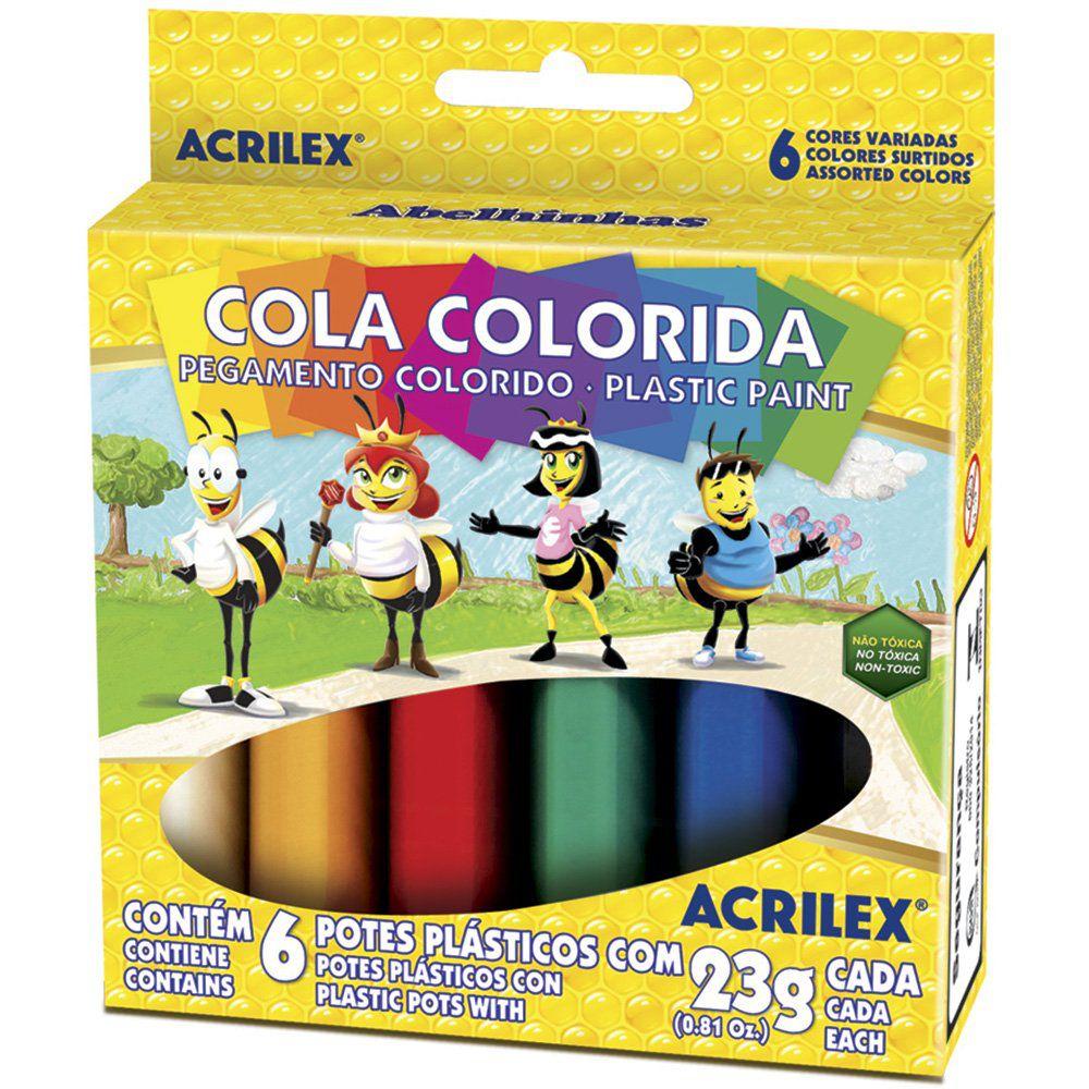 Cola Colorida Escolar Pac com 12 Caixas Acrilex Atacado