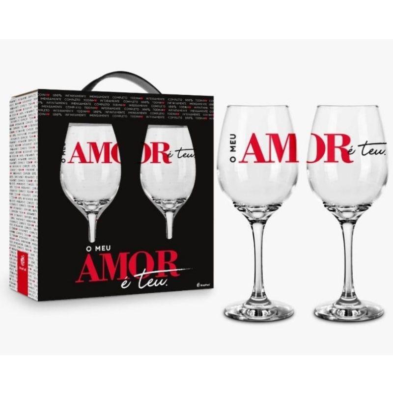 Conjunto 2 Taça de Vinho na Caixa O Meu Amor é Teu Presente Brasfoot
