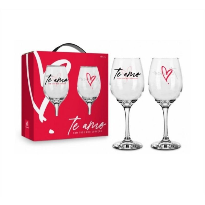 Conjunto 2 Taça de Vinho na Caixa Te Amo Com Todo O Meu Coração Brasfoot