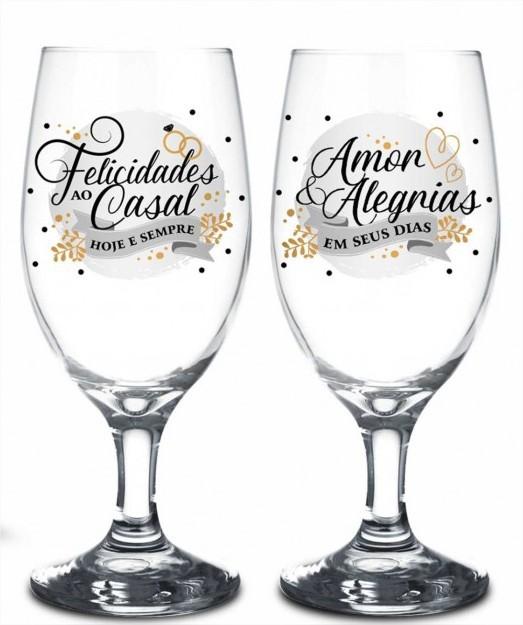 Conjunto 2 Taças Windsor Amor e Alegria Presente Casal Brasfoot