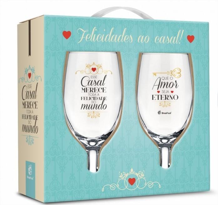 Conjunto 2 Taças Windsor Felicidade ao Casal Presente Brasfoot