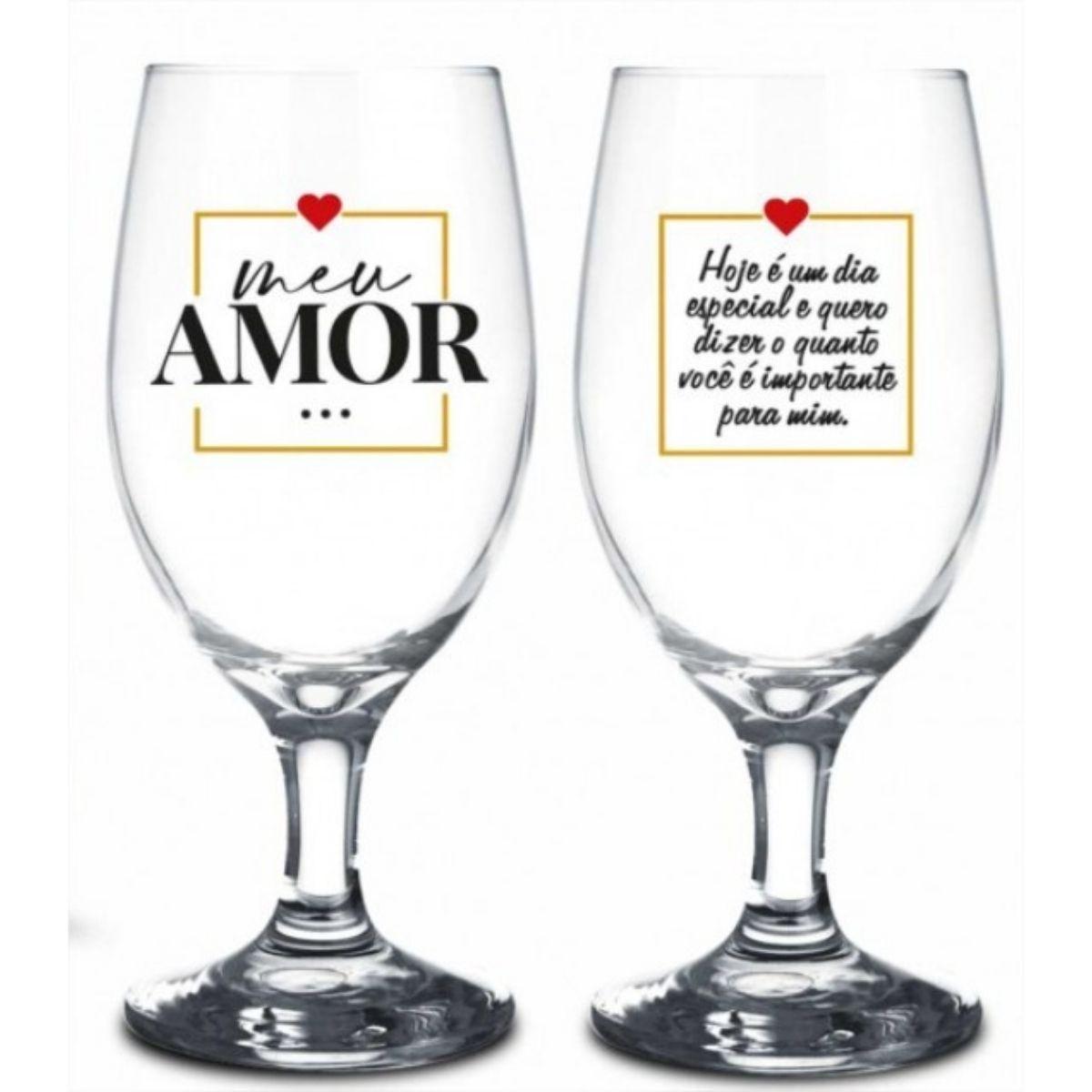 Conjunto 2 Taças Windsor Meu Amor Dia Especial Presente Namorados Brasfoot