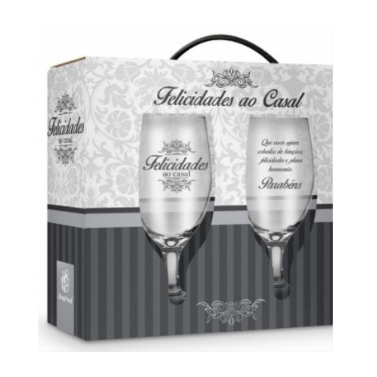 Conjunto 2 Taças Windsor Presente Felicidades ao Casal Cinza Brasfoot