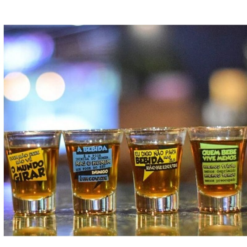 Conjunto 4 Copos De Dose Shot Frases Bebidas 60ml Brasfoot