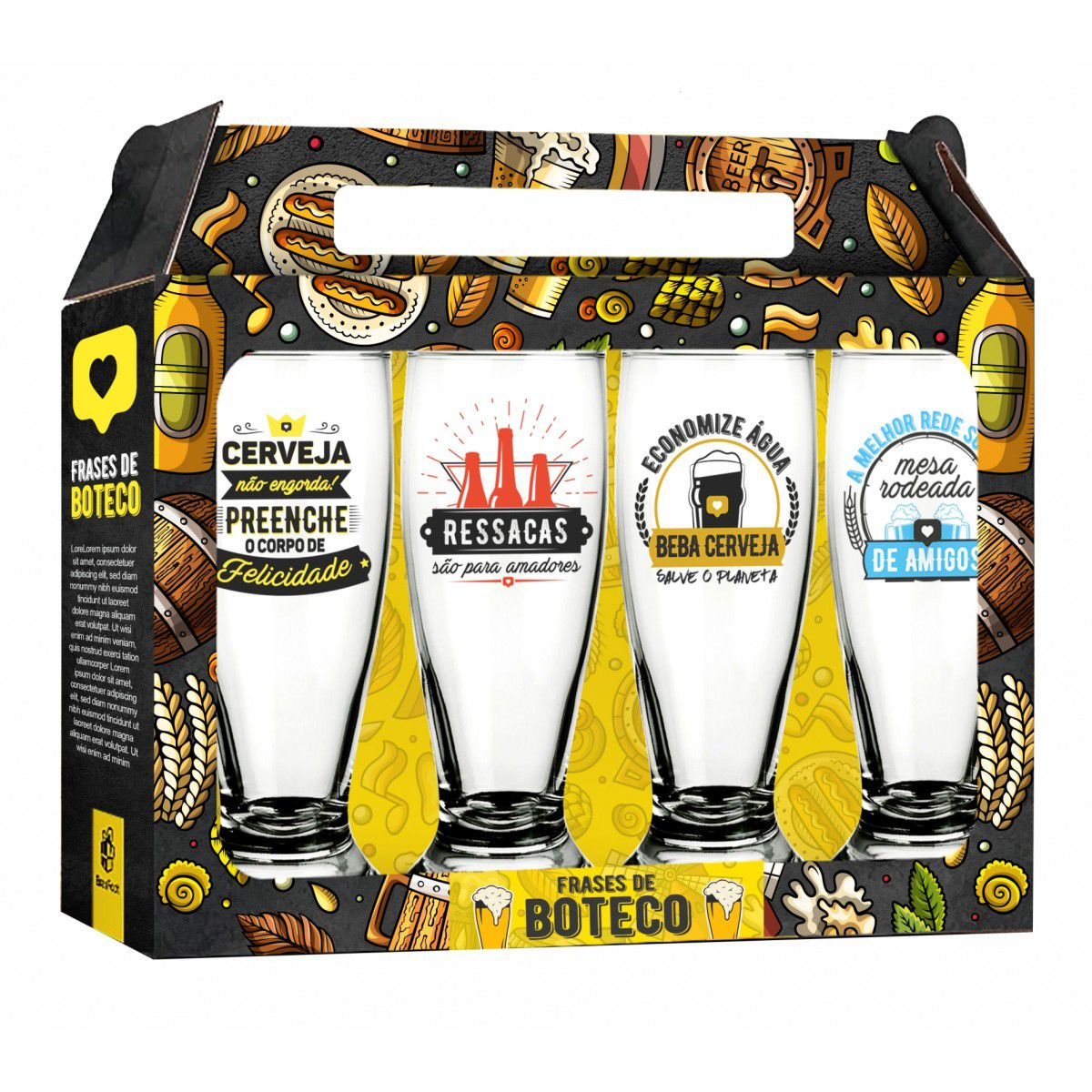 Conjunto 4 Copos Munich Cerveja Frases de Boteco 200ml Brasfoot