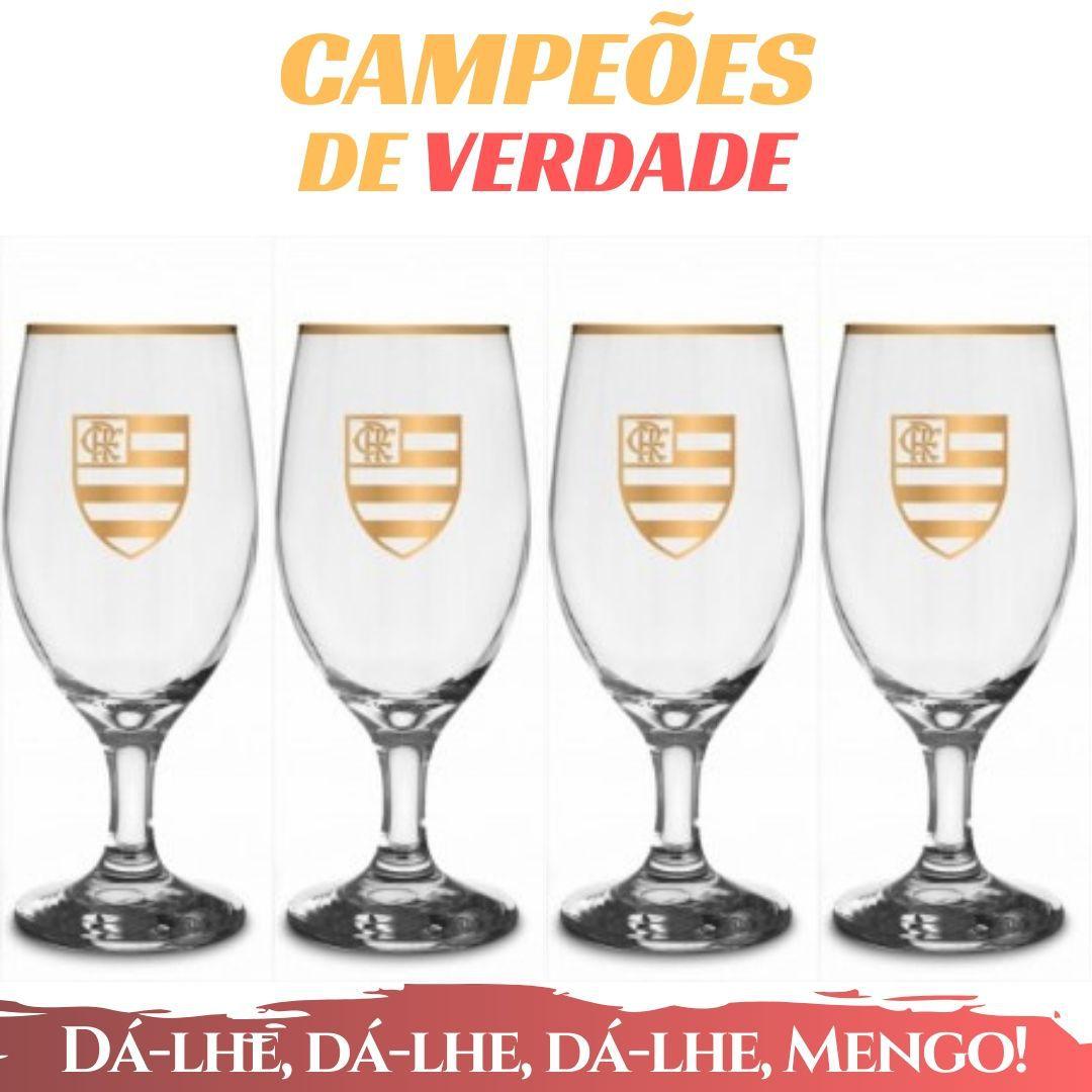 Conjunto 4 Taças Windsor Times Flamengo Edição Especial Presente Brasfoot