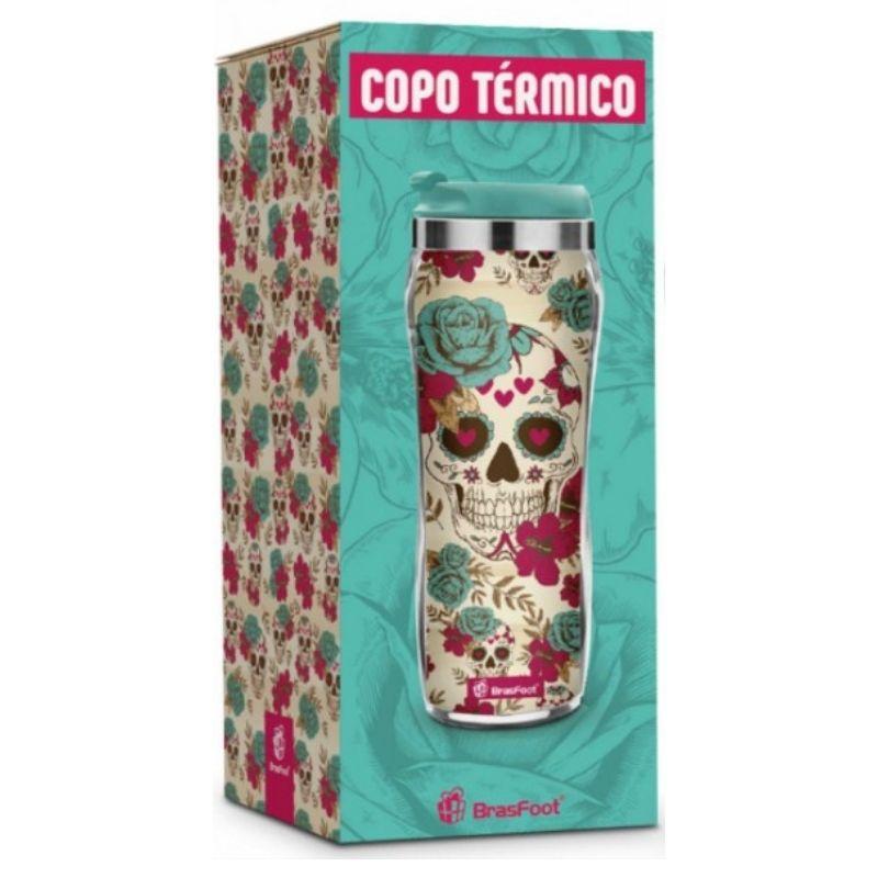 Copo Térmico Caveira Flowers Mexicana 450ml Brasfoot