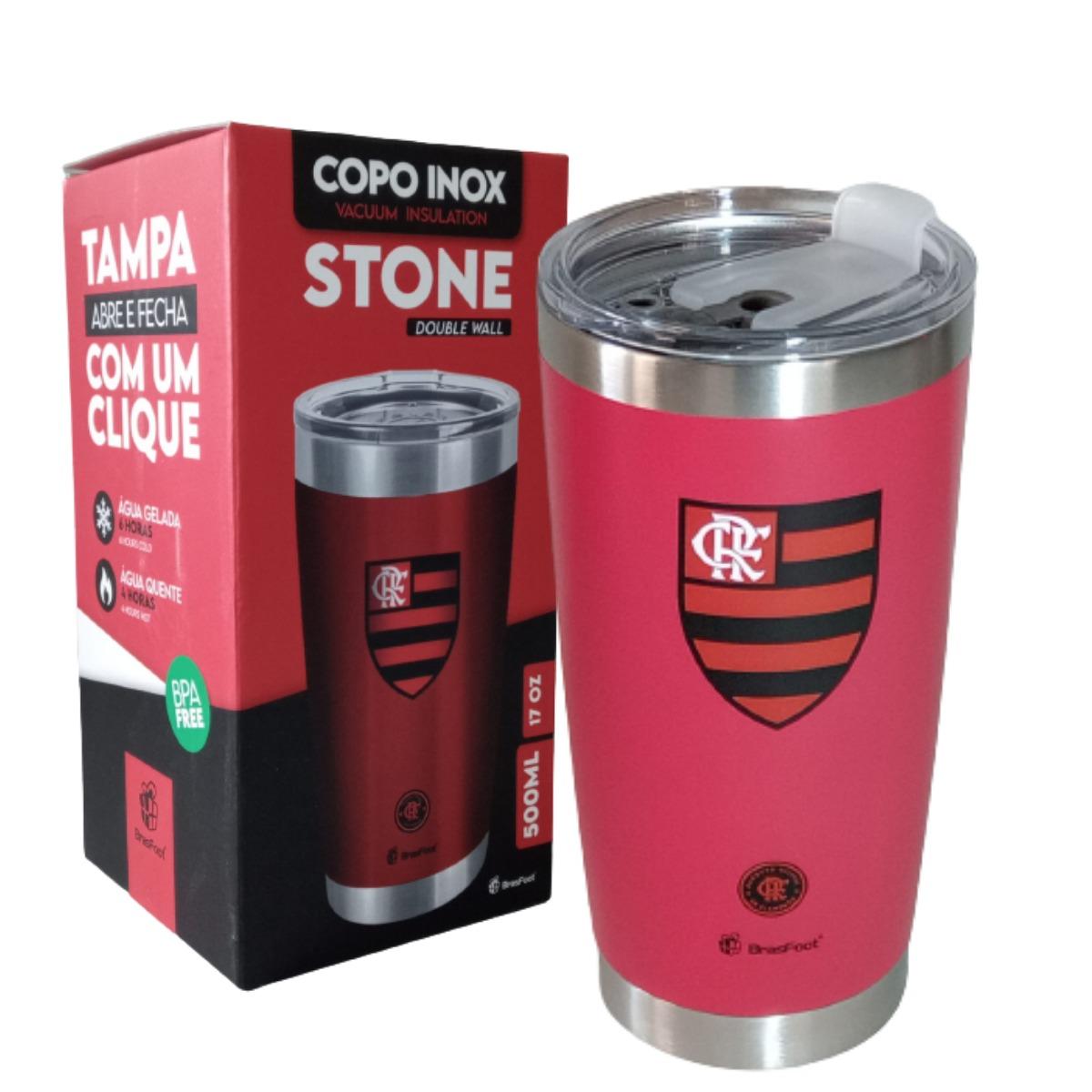 Copo Térmico Flamengo Stone Oficial 500ml Brasfoot