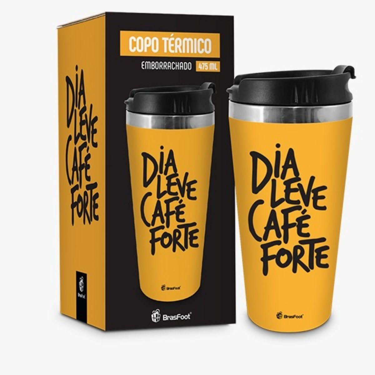 Copo Térmico Inox Emborrachado Dia Leve Café Forte 450ml Brasfoot