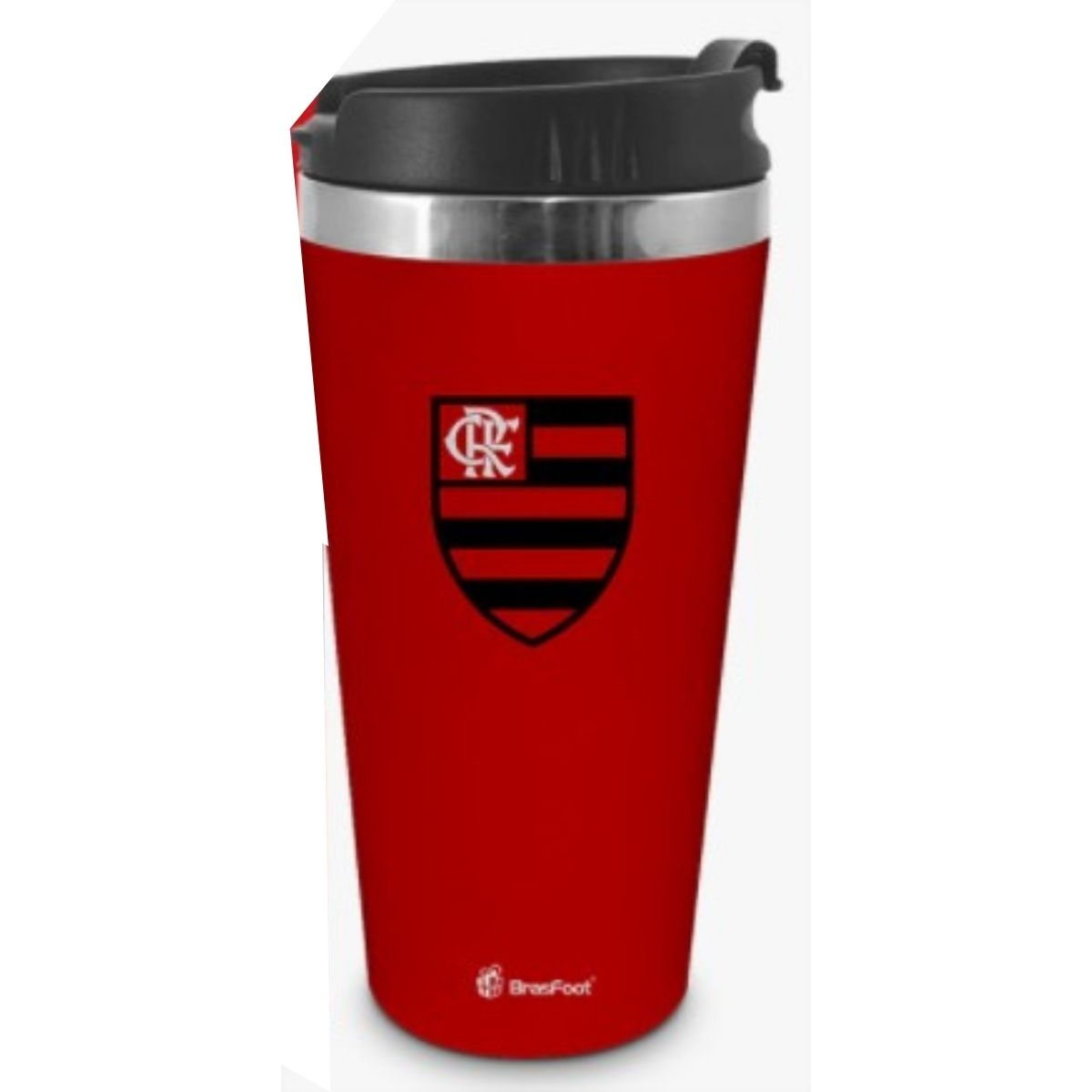 Copo Térmico Inox Emborrachado Flamengo 450ml Brasfoot