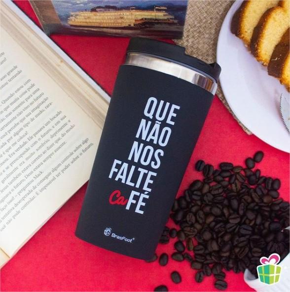 Copo Térmico Inox Emborrachado Que Não Falte Café 450ml Brasfoot
