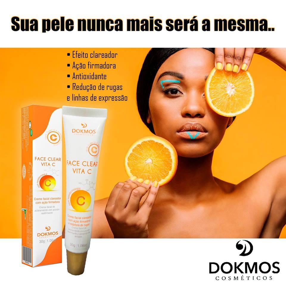Creme Facial Clareador Face Clear Vita C 30g Dokmos