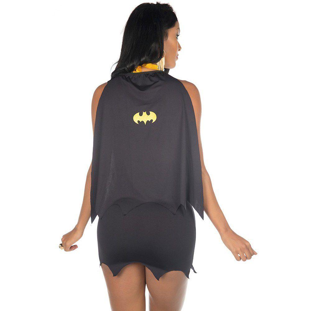 Fantasia Completa Heróis Bat Girl Vestido Luxo Pimenta Sexy