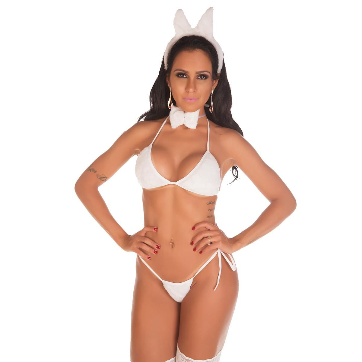 Fantasia Completa Páscoa Coelha de Pelúcia Pimenta Sexy
