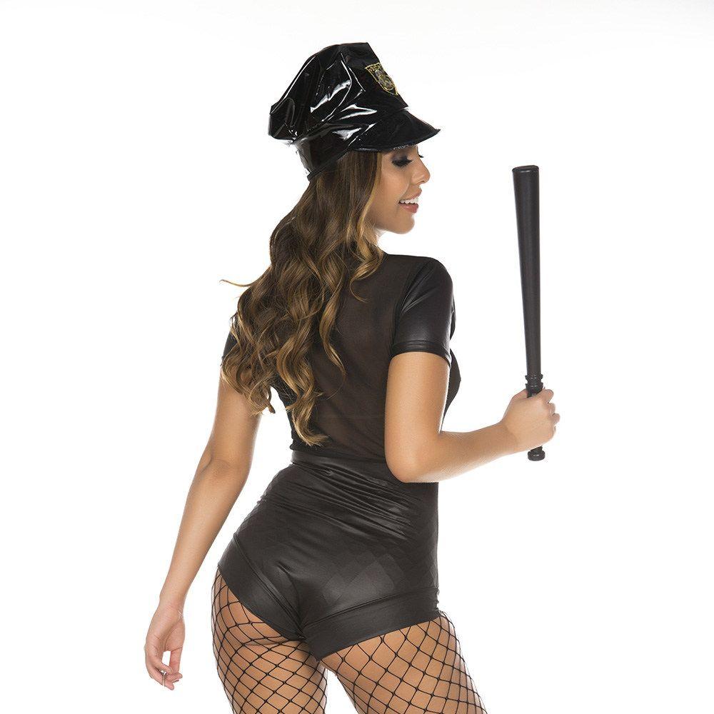 Fantasia Completa Policial Macaquinho Cassetete e Algema Pimenta Sexy