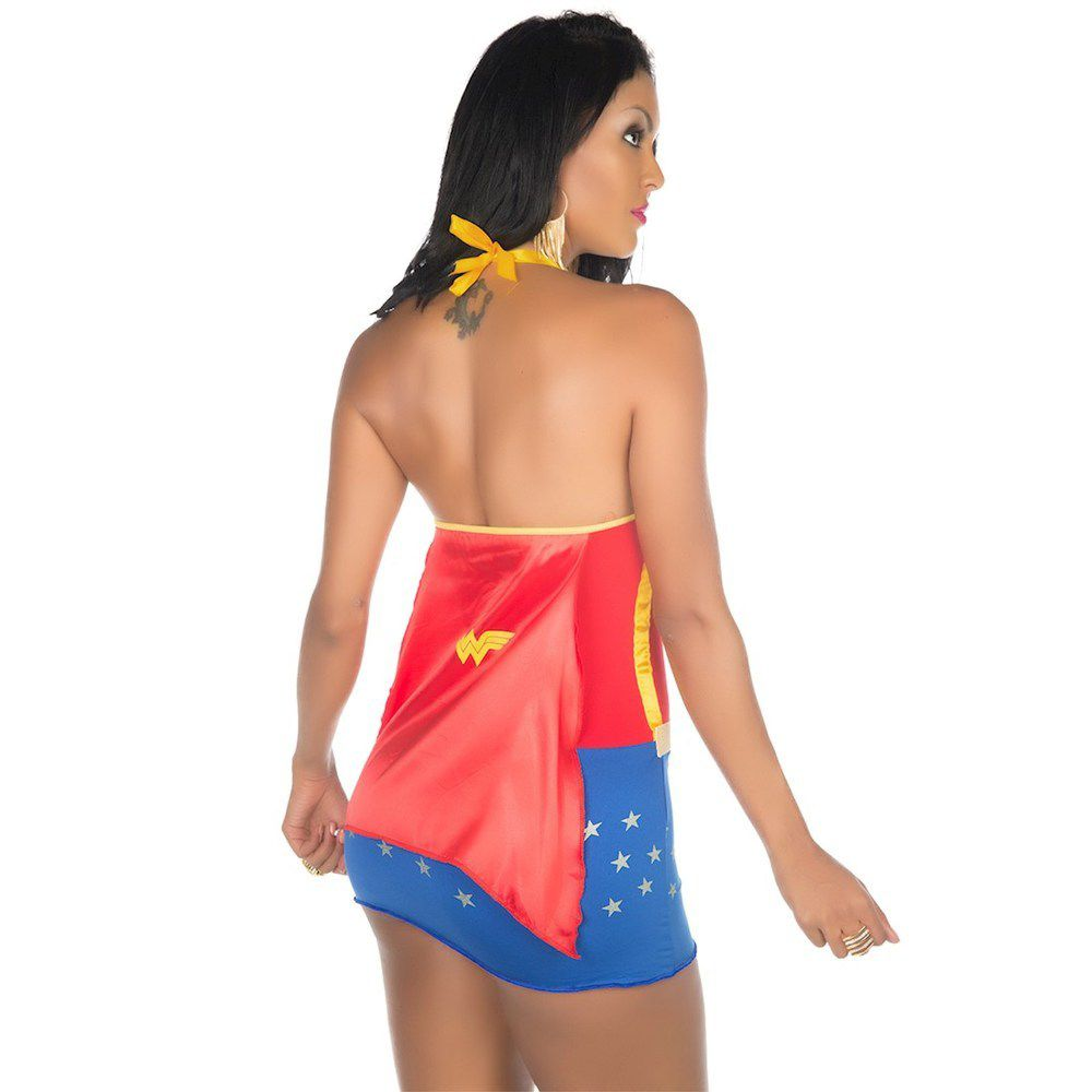 Fantasia Completa Vestido Super Heróis  Mulher Maravilha Pimenta Sexy