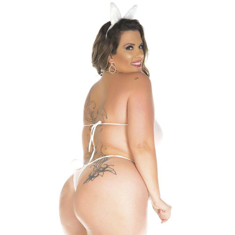 Fantasia Plus Size Body Páscoa Coelha Charmosa Pimenta Sexy