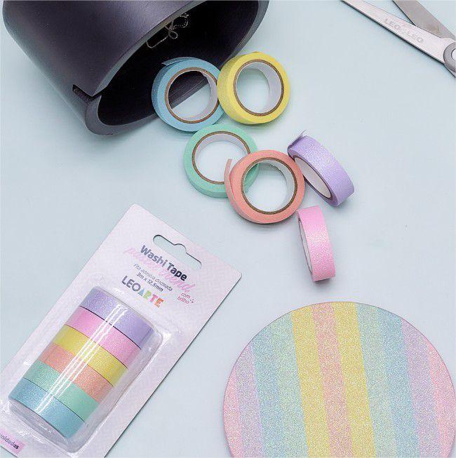 Fita Adesiva Decorada Washi Tape Pastel Trend com Brilho Leo  Arte