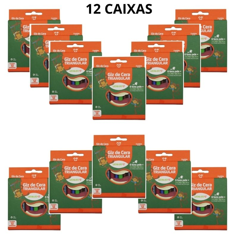 Giz de Cera Triangular 12 Cores Pacote com 12 Caixas Leo e Leo Atacado