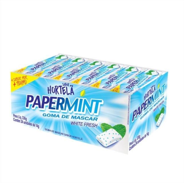 Goma de Mascar PaperMint White Fresh Hortelã Refrescante 1 CX 24 unid Danilla