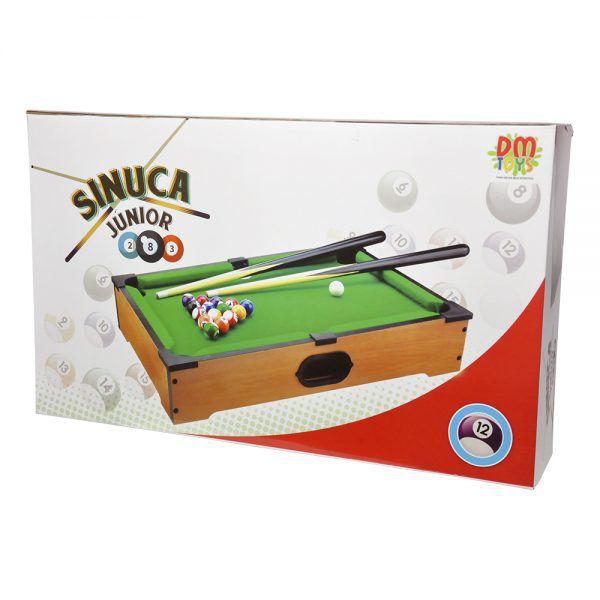 Jogo Bilhar Sinuca Junior Snooker Mini Mesa Madeira Completo 51Cm DM Toys