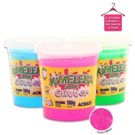Slime Glitter Caixa com 6 unidades 180g Kimeleka Acrilex
