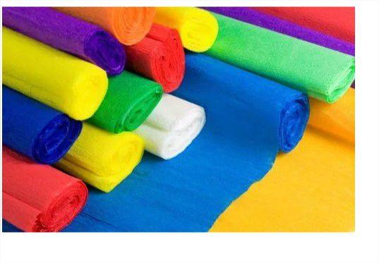 10 Papel Crepom Comum Colorido 48cmx2M Escolha a Cor Realce