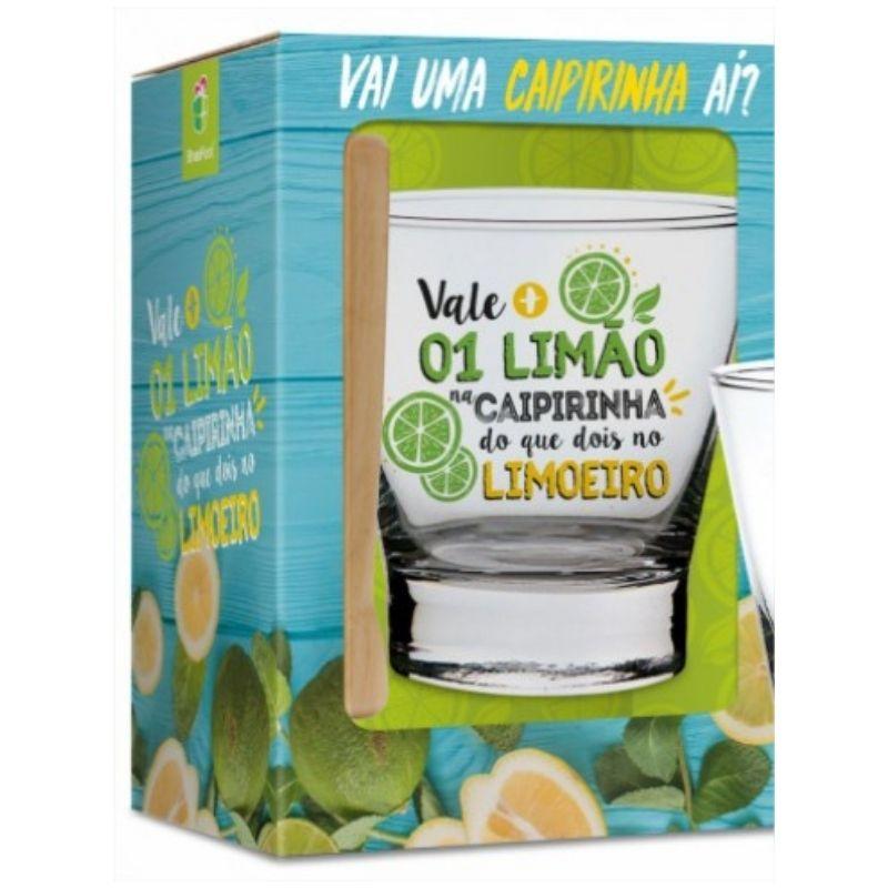 Kit Caipirinha Copo e Socador Vale Mais 1 Limão Brasfoot