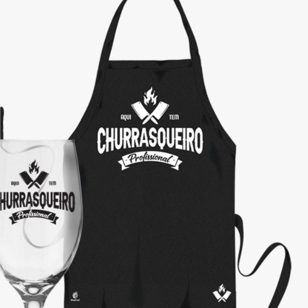 Kit Churrasqueiro Profissional Avental e Taça Presente Brasfoot