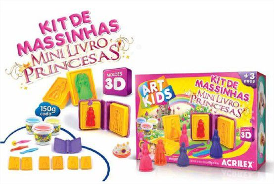 Mini Livro 3D Princesas com Massinha, Moldes e Cortadores 450g Acrilex
