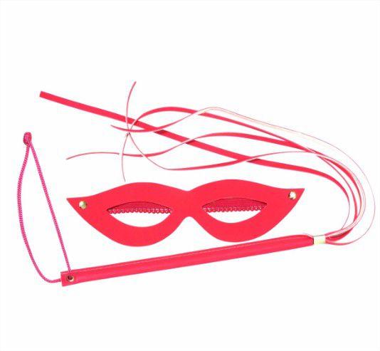 Kit Dominadora Máscara e Chicote Linha Sado Escolha a Cor Fetiche Fetiche