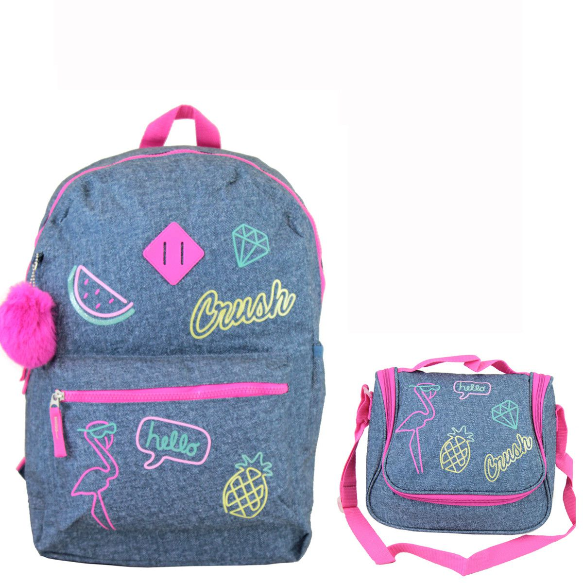 Kit Escolar Juvenil Cruch Mochila Lancheira Menina Flamingo Clio