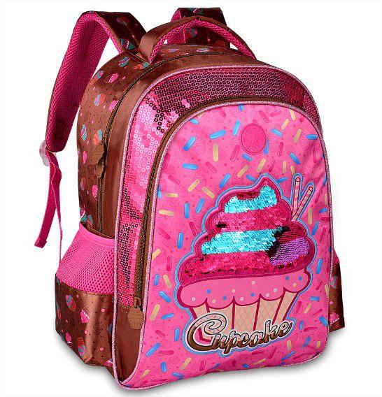 Kit escolar juvenil Cupcake Lovers Paetê Mochila e Lancheira Clio