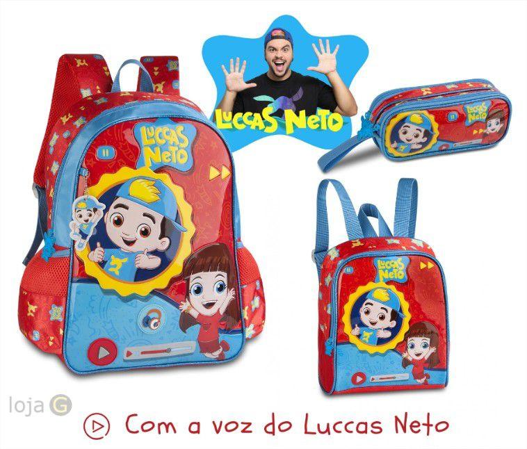 Kit Escolar Luccas Neto Mochila de Costas Lancheira e Estojo Clio