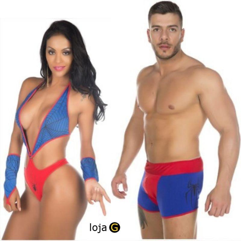 Kit Fantasias Super heróis Body e Cueca Homem e Mulher Aranha Pimenta Sexy