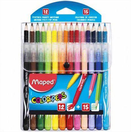 Kit Lápis De Cor 15 Cores + Canetinhas 12 Cores Jungle Color Peps Maped