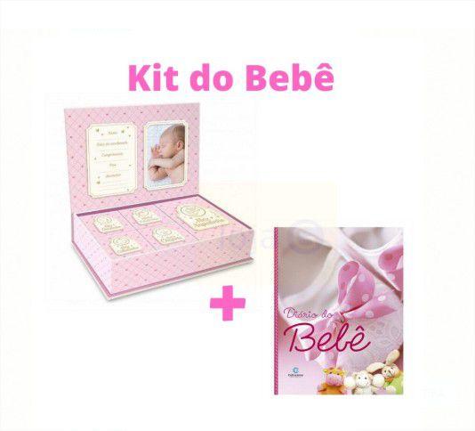 Kit Lembranças do Bebê Livro Diário + Caixa Pequenos Tesouros Rosa