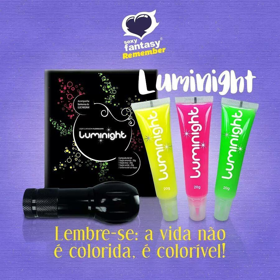 Kit Loção P/ Corpo Iluminadora Luminigth Fluorescente Luz Negra Neon Sexy Fantasy