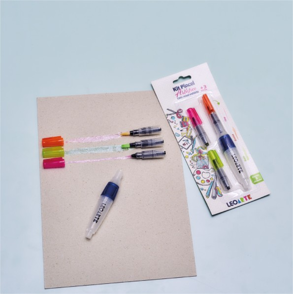 Kit Pincel Artístico Com Reservatório Water Brush Lettering + 3 Pontas LeoArte