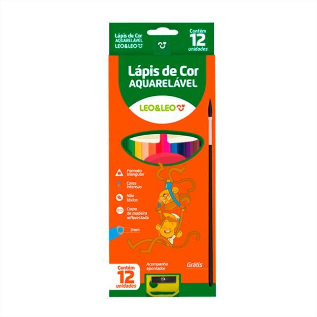 Lapis De Cor Aquarelavel 12 Cores Com Pincel e Apontador Leo e Leo