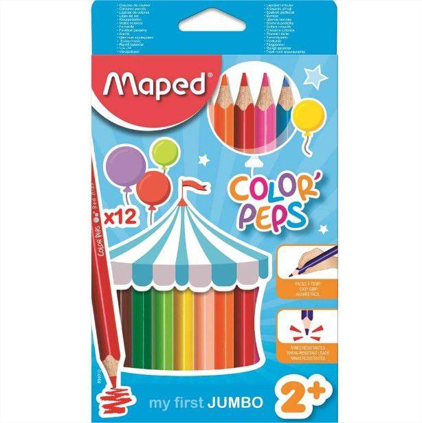 Lápis De Cor Color Peps Jumbo Ponta Grossa 12 Cores Maped