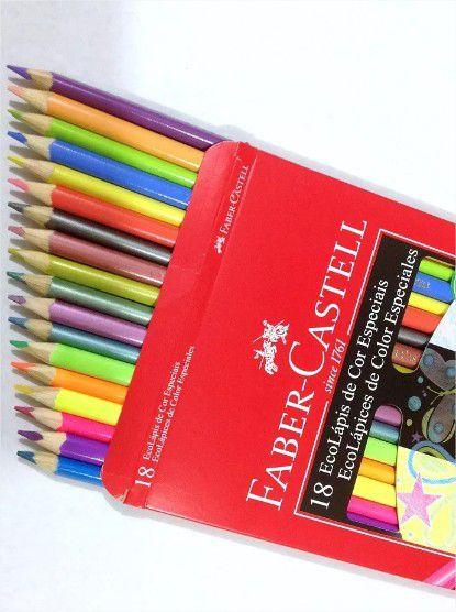 Lápis De Cor Fantasia 18 Cores Especiais Faber Castell