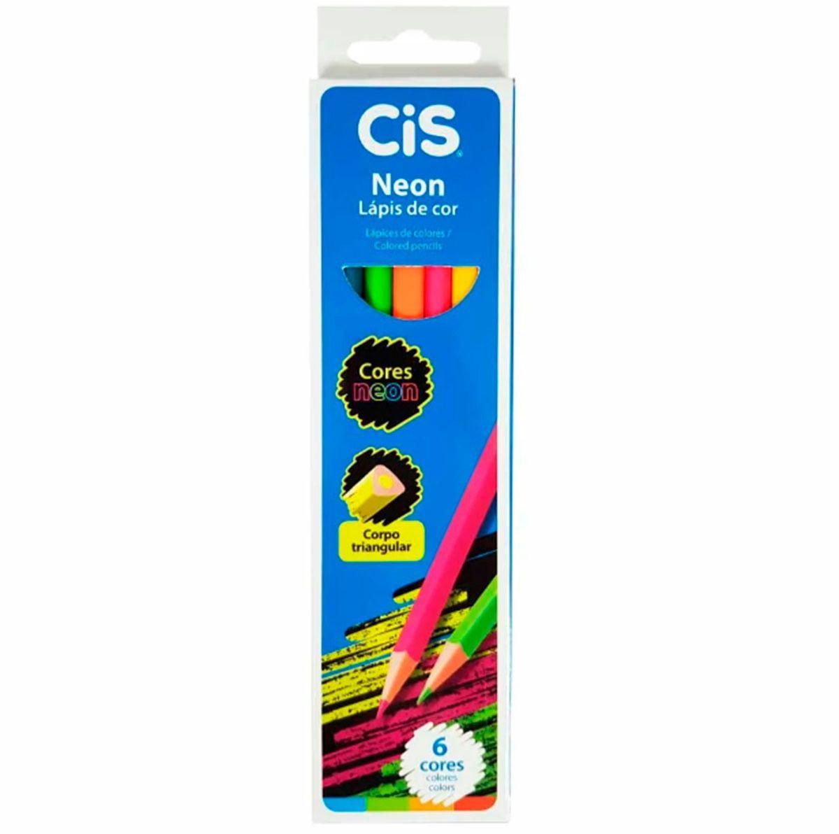 Lápis De Cor Neon 6 Cores Vibrantes Cis