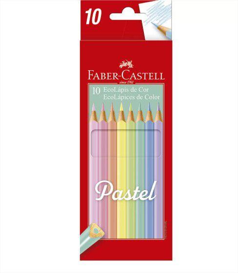 Lápis de Cor Triangular 10 cores Tom Pastel Faber Castell
