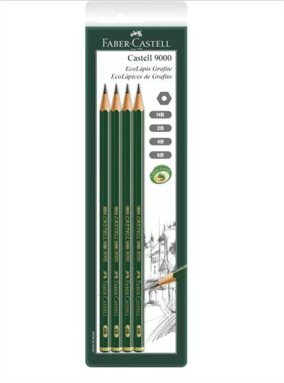 Lápis Preto Técnico 9000 4 Unid. HB / 2B / 4B / 6B Faber Castell