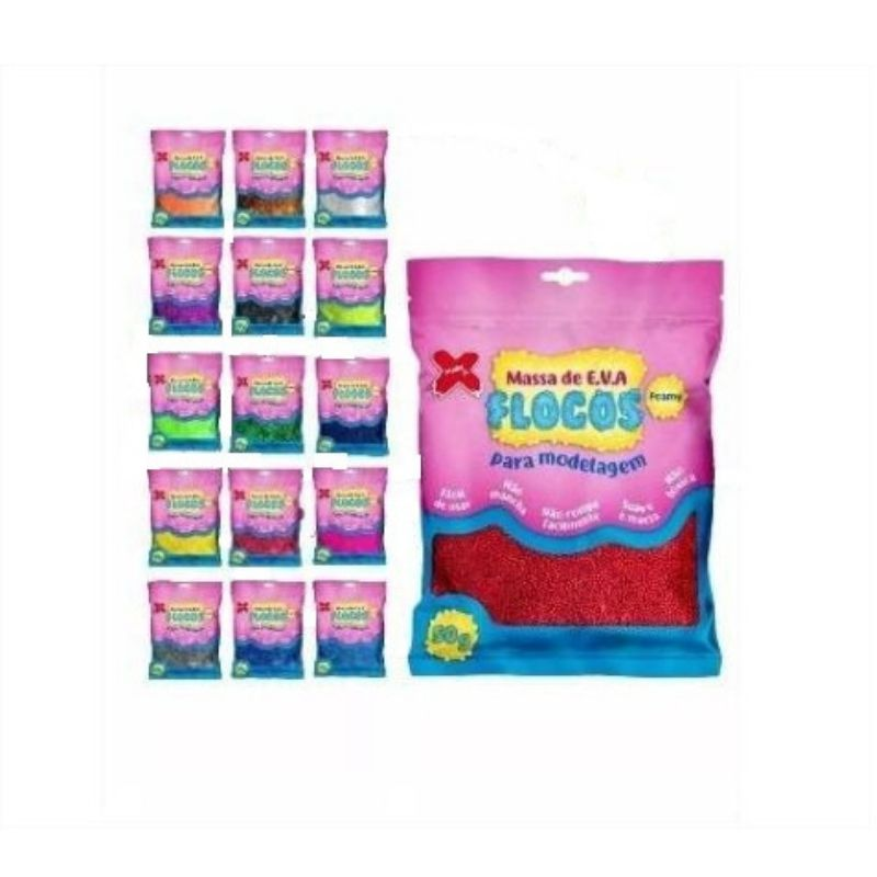 Massa De EvaFlocos 50g - Kit Com 20 Pacotes Make Mais