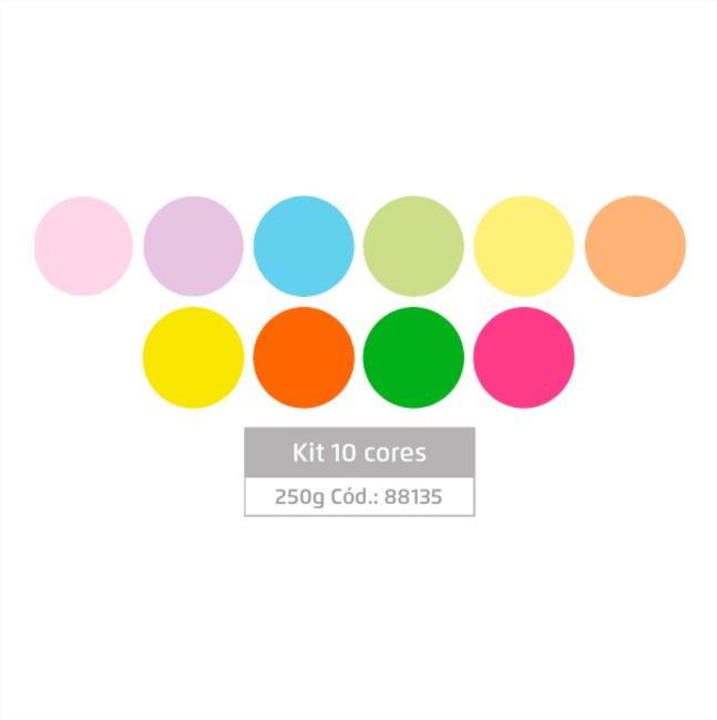 Massa Eva Lisa Artesanato 10 Cores Tons Neon e Pastel 250g Leo Arte